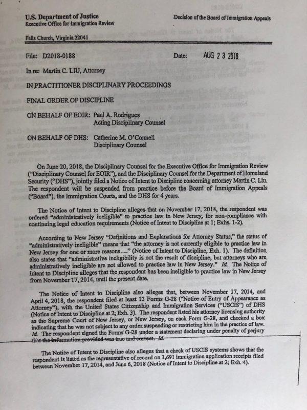 Departamento de Justiça proibe advogado Martin Liu de exercer a função