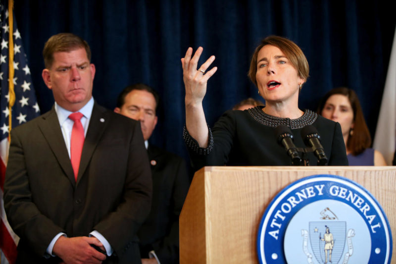 (052918 Boston, MA) AG Maura Healey and Mayor Marty Walsh are joined by business leaders and local advocates to announce a zero tolerance workplace policies on sex buying during a press conference at the AG's office in Boston on Tuesday,May 29, 2018. Staff Photo by Nancy Lane