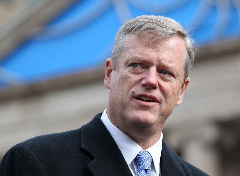 (Boston, MA - 11/15/15)  Gov. Charlie Baker speaks with reporters during a rally on the Boston Common to show solidarity with France following terrorist attacks in Paris, Sunday, November 15, 2015. Staff photo by Angela Rowlings.
