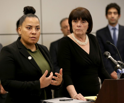 BOSTON MA. - APRIL 29: District Attorneys Rachael Rollins and Marian Ryan take questions during at press conference announcing the filing of a federal lawsuit to block immigration arrests in courthouses on April 29, 2019 in Boston, MA.  (Staff Photo By Nancy Lane/MediaNews Group/Boston Herald)