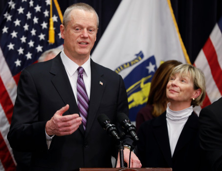 BOSTON, MA - MARCH 14-SATURDAY: Massachusetts Gov. Charlie Baker, left, and Health and Human Services Secretary Marylou Sudders, right, answer reporters' questions after Gov. Baker named her the head of a command center in response to issues caused by the COVID-1 virus, at the State House March 14, 2020, in Boston, Massachusetts. (Photo by Paul Connors/Media News Group/Boston Herald)