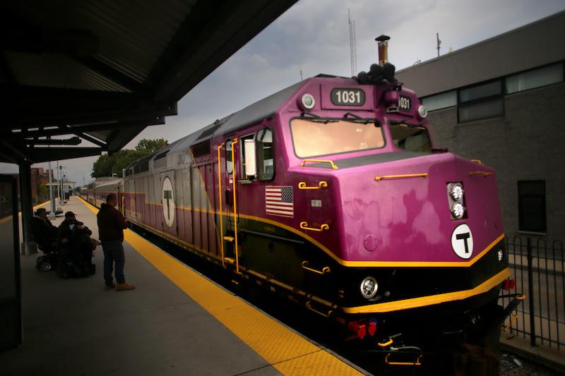 Brockton, MA - 10/07/20 -  An MBTA commuter rail train pulls into the station in Brockton.  (Lane Turner/Globe Staff) Reporter:  (Janelle Nanos)  Topic: (15onthestreetBrockton)